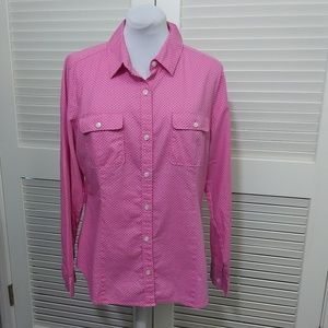 Loft Button Down Shirt in Pink with Black Dots